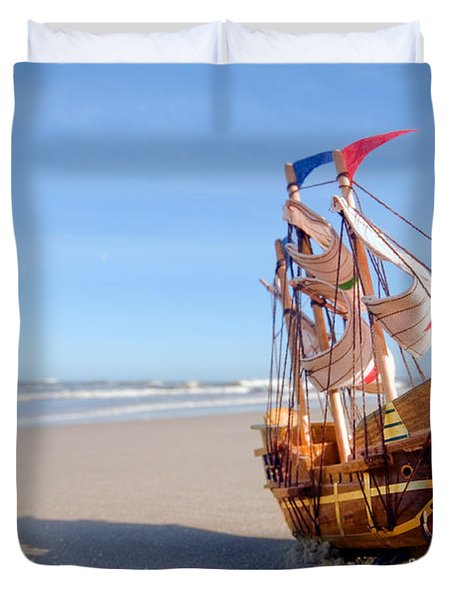 Ship Model On Summer Sunny Beach Duvet Cover by Michal Bednarek