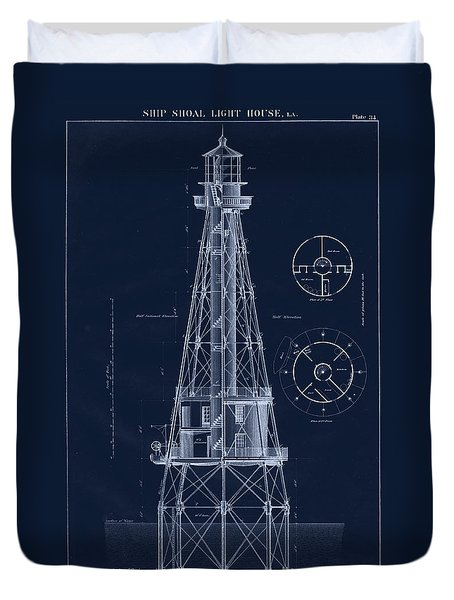 Ship Shoal Lighthouse Drawing Duvet Cover by Jerry McElroy