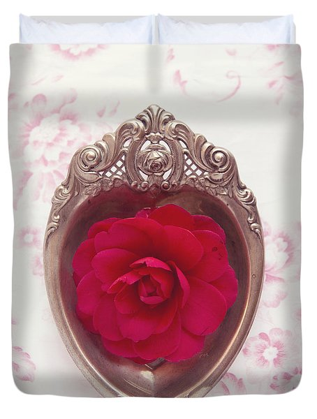 Silver Heart - Red Camellia Duvet Cover