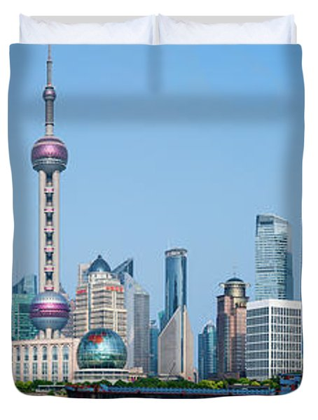 Skylines At The Waterfront, Oriental Duvet Cover