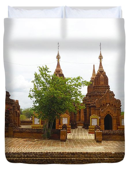 Duvet Cover featuring the photograph Smaller Temples Next To Dhammayazika Pagoda Built In 1196 By King Narapatisithu Bagan Burma by Ralph A  Ledergerber-Photography