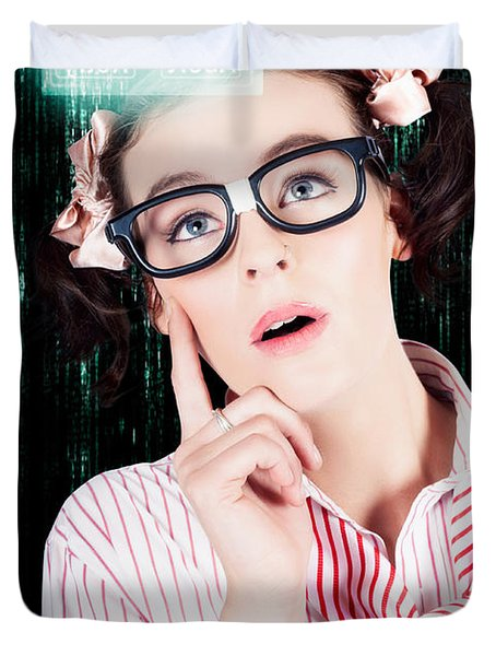 Smart Woman Hacking Network Access Code Duvet Cover