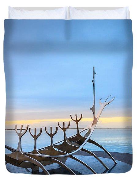 Solfar Sun Voyager Duvet Cover by Alexey Stiop