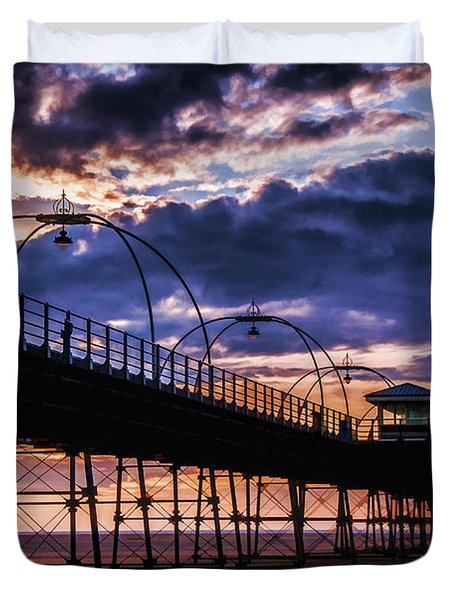 Southport Pier At Sunset Duvet Cover