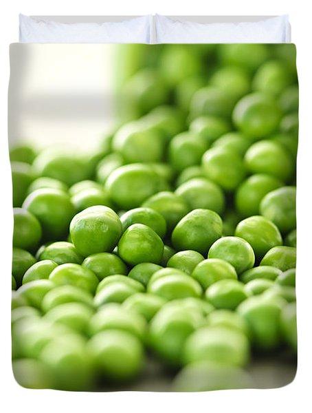 Spilled Bowl Of Green Peas Duvet Cover by Elena Elisseeva