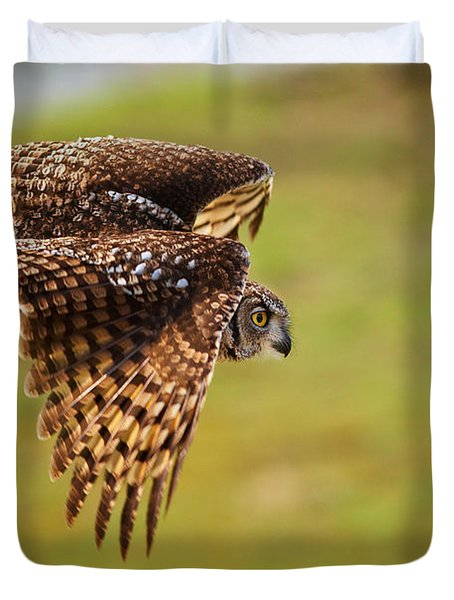 Spotted Eagle Owl In Flight Duvet Cover