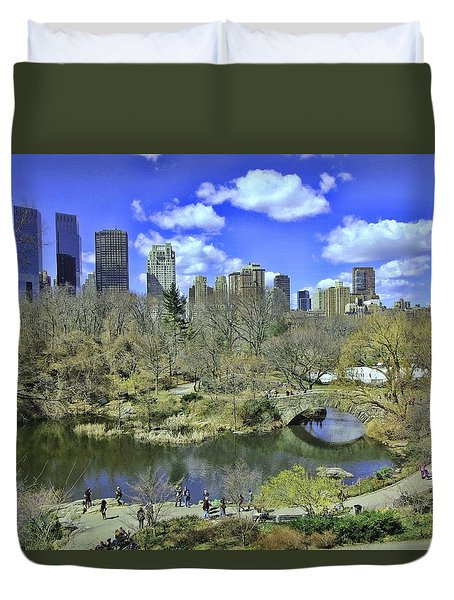 Springtime In Central Park Duvet Cover by Allen Beatty