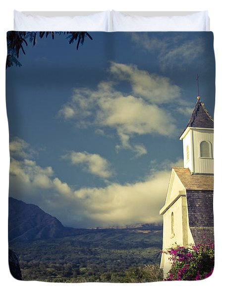 St. Joseph Catholic Church Kaupo Maui Hawaii Duvet Cover by Sharon Mau