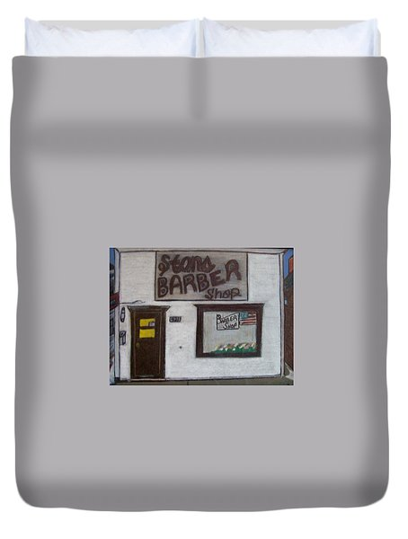 Duvet Cover featuring the mixed media Stans Barber Shop Menominee by Jonathon Hansen