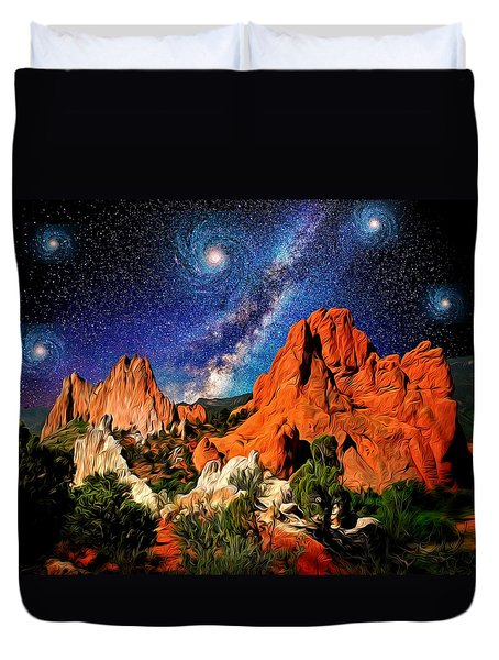Starry Night At Garden Of The Gods Duvet Cover by John Hoffman
