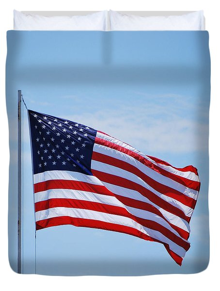 Duvet Cover featuring the photograph American Flag  by Bob Sample