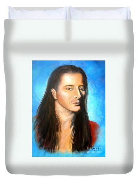 Duvet Cover featuring the drawing Steve Perry by Patrice Torrillo
