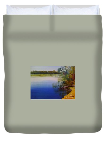 Duvet Cover featuring the painting Still Waters - Original Sold by Therese Alcorn