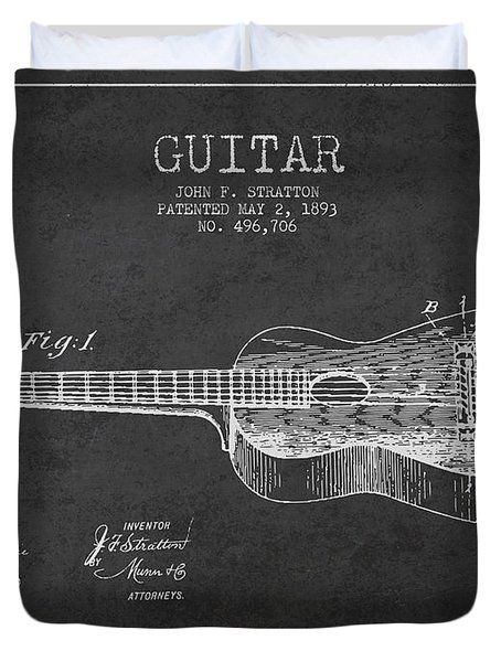 Stratton Guitar Patent Drawing From 1893 Duvet Cover