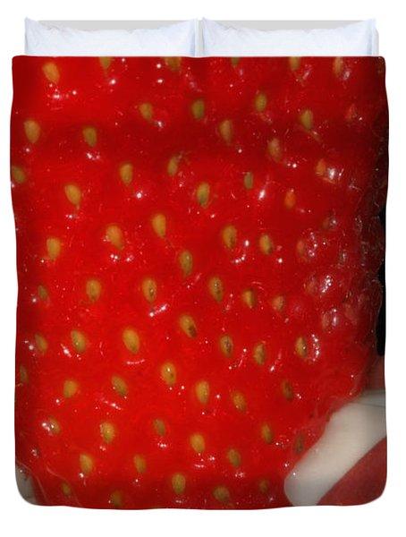 Strawberry Lips Duvet Cover by Joann Vitali