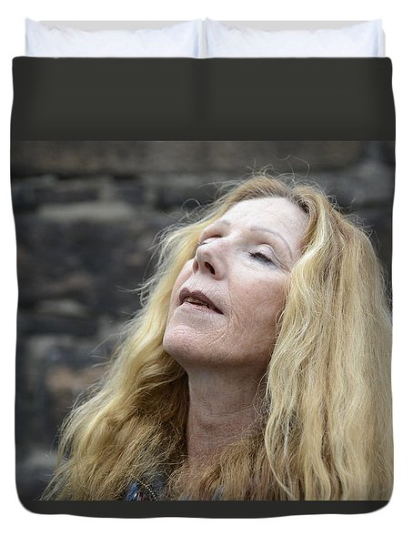 Duvet Cover featuring the photograph Street People - A Touch Of Humanity 2 by Teo SITCHET-KANDA