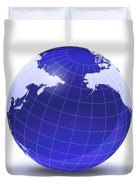 Stylized Earth Globe With Grid Duvet Cover