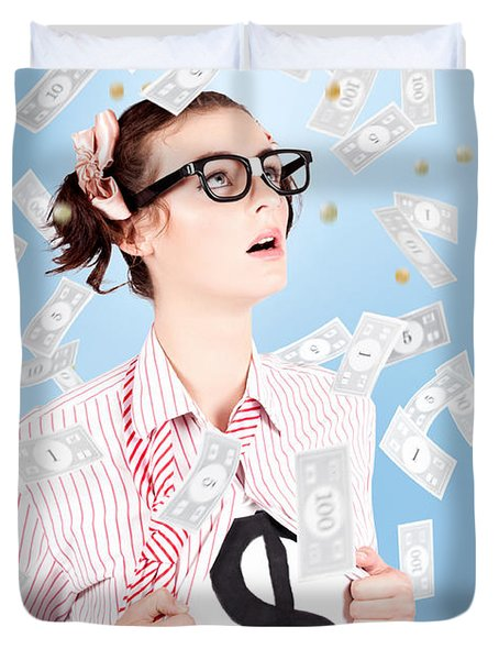 Successful Female Business Superhero Winning Money Duvet Cover