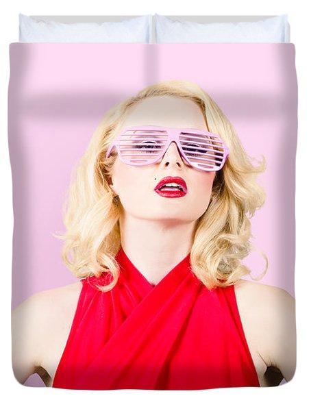 Summer Fashion Model. Girl In A Pink Sun Glasses Duvet Cover
