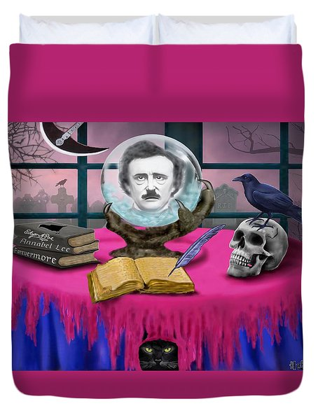 Summoning Edgar Allan Poe Duvet Cover by Glenn Holbrook