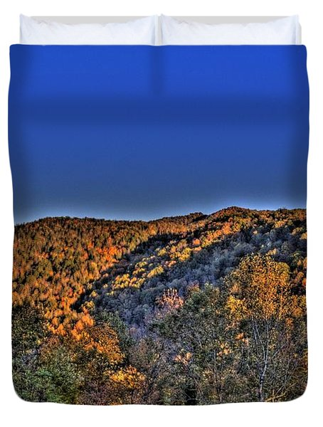 Duvet Cover featuring the photograph Sun On The Hills by Jonny D