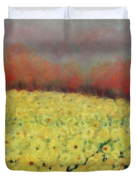 Duvet Cover featuring the painting Sunflower Days by Katie Black