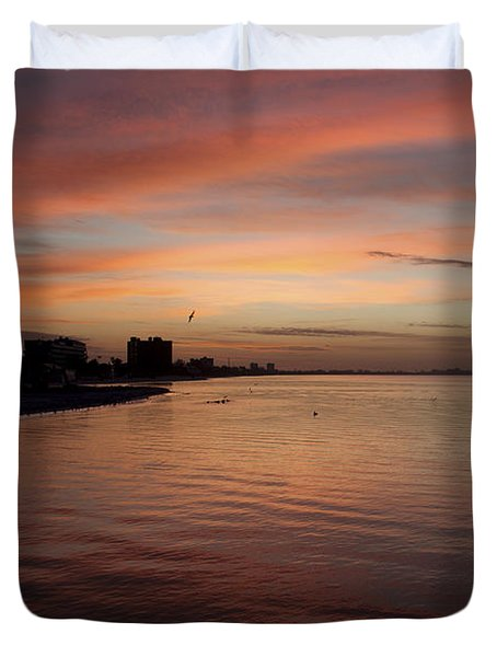 Duvet Cover featuring the photograph Sunrise Over Fort Myers Beach Photo by Meg Rousher