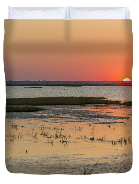 Duvet Cover featuring the photograph Sunset At Cheyenne Bottoms by Rob Graham