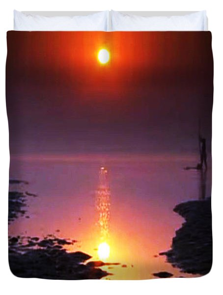 Sunset At Ganga River In The Planes Of Provinces Duvet Cover by Navin Joshi