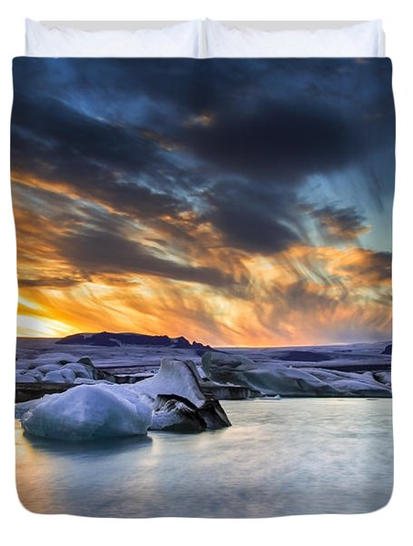 sunset at Jokulsarlon iceland Duvet Cover