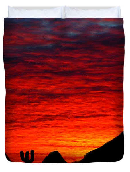 Sunset In The Desert Duvet Cover