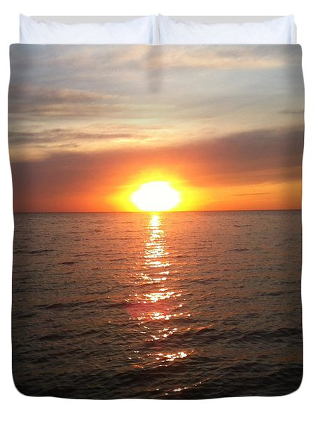 Sunset On The Bay Duvet Cover