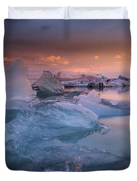 Sunset Over Glacier Bay In Iceland Duvet Cover