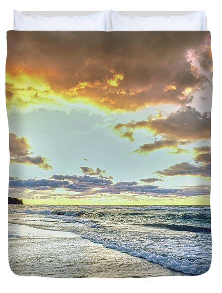 Sunset Over Lake Superior, Keweenaw Duvet Cover