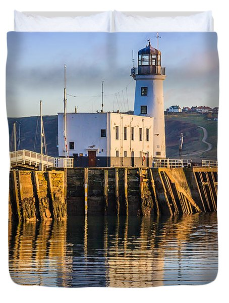 Sunset Over Scarborough Lighthouse Duvet Cover