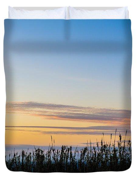 Sunset Over The Field Duvet Cover