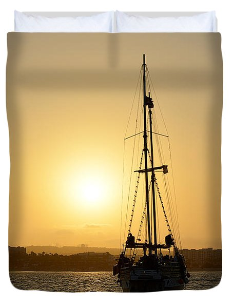 Duvet Cover featuring the photograph Sunset Sailing In Cabo by Christine Till