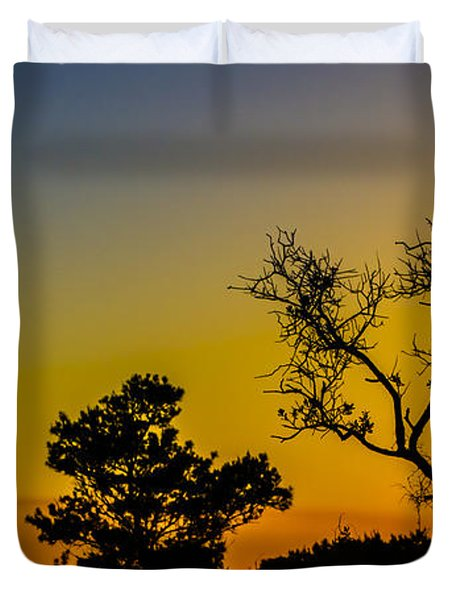 Sunset Silhouette Duvet Cover by Debra and Dave Vanderlaan