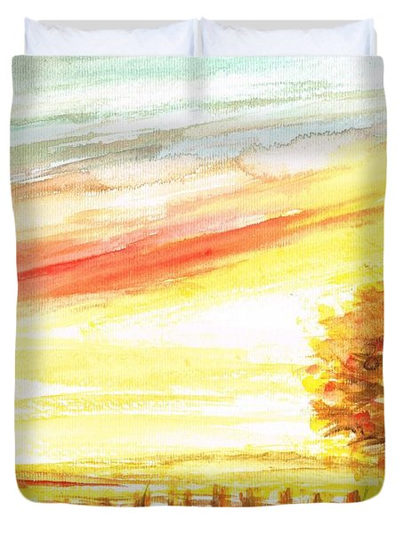 Duvet Cover featuring the painting Sunset by Teresa White