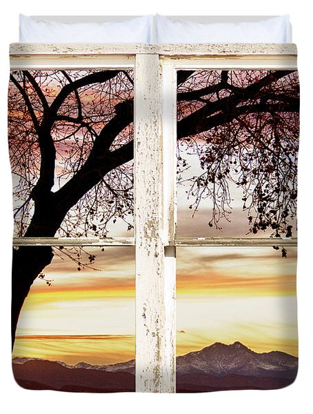 Sunset Tree Silhouette Abstract Picture Window View Duvet Cover by James BO  Insogna