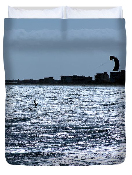 Surfing In Blue Duvet Cover by Chris Thomas