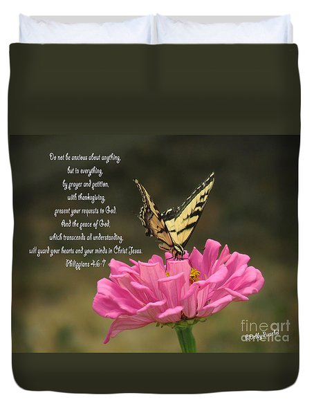 Swallowtail On A Zinnia Duvet Cover by Debby Pueschel