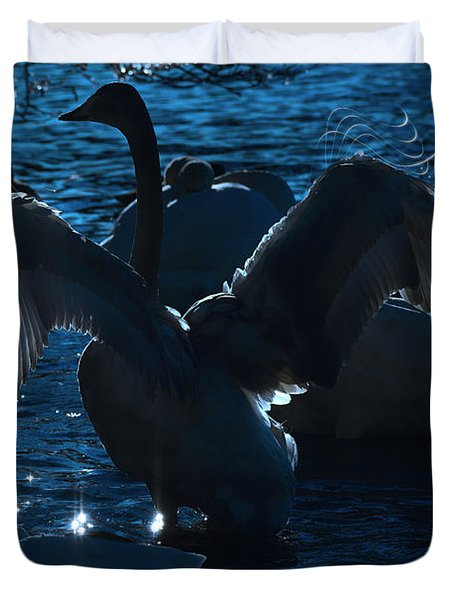 Swan Spreads Its Wings Duvet Cover by Tommytechno Sweden