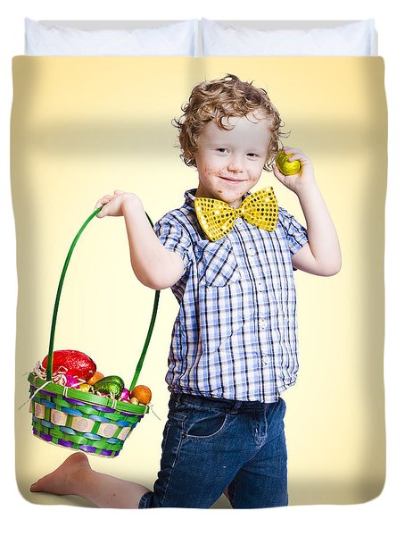 Sweet Little Child Holding Easter Egg Basket Duvet Cover