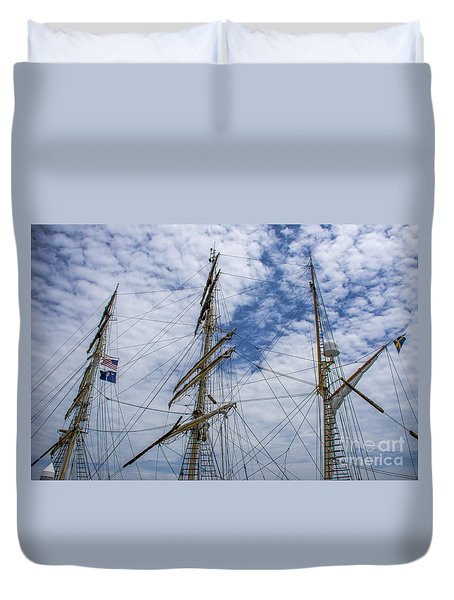 Tall Ship Three Mast  Duvet Cover by Dale Powell