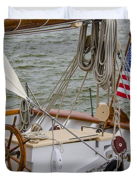 Duvet Cover featuring the photograph Tall Ships by Dale Powell