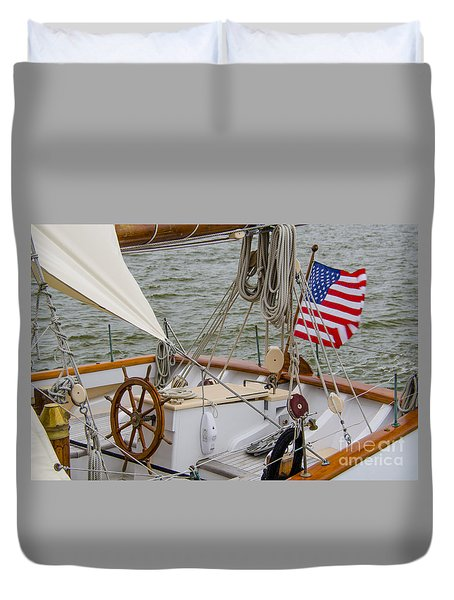 Tall Ship Wheel Duvet Cover by Dale Powell