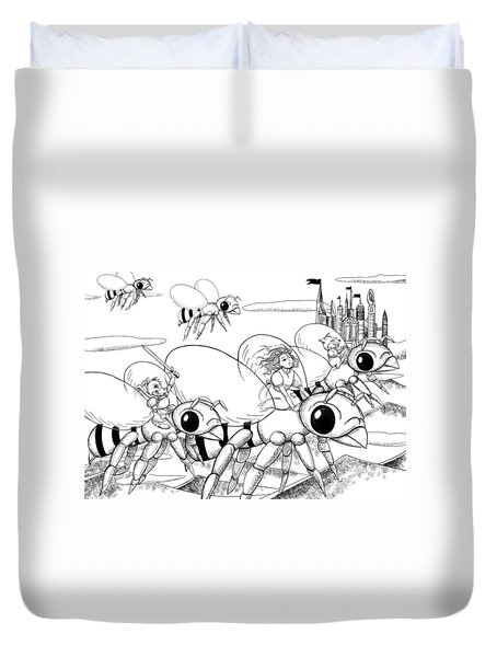 Duvet Cover featuring the drawing Tammy In Polynesia by Reynold Jay