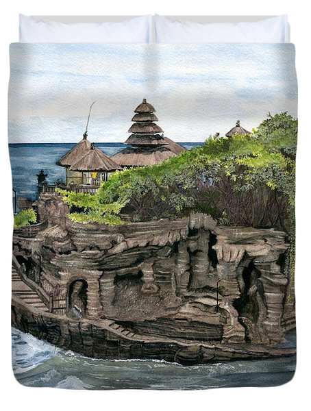 Tanah Lot Temple Bali Indonesia Duvet Cover