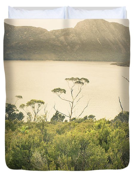 Tasmania Mountain Range Landscape Of Dove Lake Duvet Cover